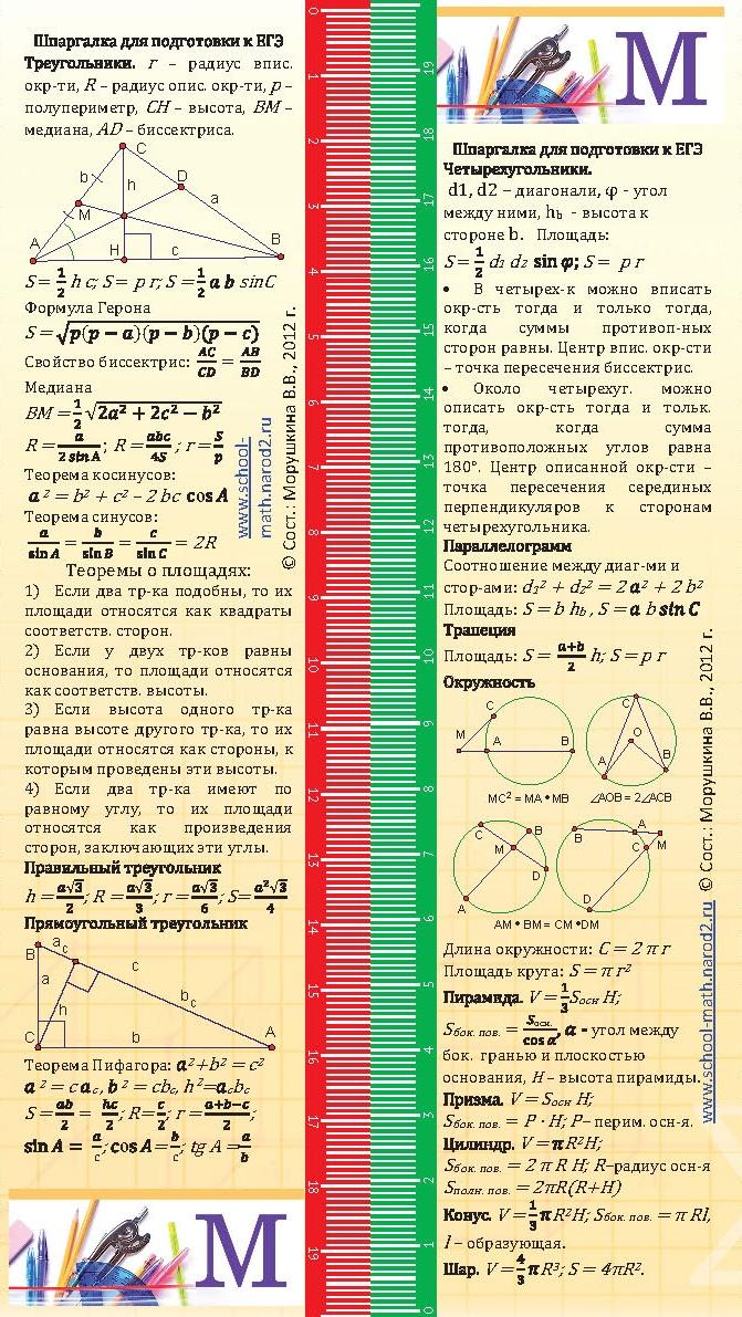 Гиа математике геометрия шпаргалки по к